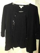 Women's Fall Spring Winter Sequins black 2in 1 Cardigan Sweater tunic plus 2X$54