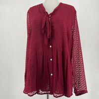 Anthropologie Meadow Rue Mason Top Silk Blouse Burgundy Long Sleeve Size Medium