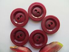 50s Vintage Med Rimmed 2-Hole Burgundy Red Coat Jacket Dress Buttons-27mm