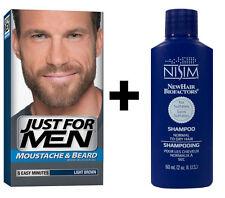 Just For Men Facial Face Hair Dye Moustache Beard Light Brown + Nisim shampoo