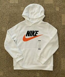 Boys  L+ 12-14 Husky Nike Sportswear Kids Club Pullover Hoodie Sweatshirt White
