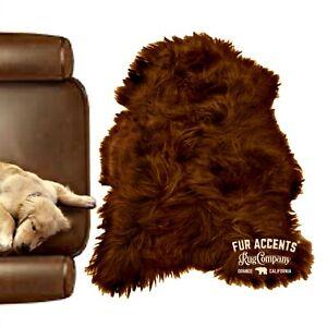 Faux Fur Icelandic Sheepskin, Brown, Area Rug, Single Pelt, Suede Lining USA