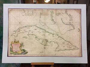 1762 Depot des Cartes Carte Reduite de l'Isle de Cube Map of Cuba Hydrographical