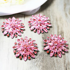 Wholesale 10x PINK Crystal Rhinestone Brooches Pin Bridal Wedding Applique Craft