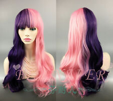 Long Pink Purple mixed Curly Wavey Fringe Hair Wig Women Cosplay Costume Hot
