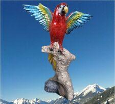 Papagei Vogel Figur Skulptur Polystein farbig ROT Vintage Weihnachts Geschenk
