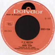 """[PAUL RYAN] BARRY RYAN ~ IT IS WRITTEN / ANNABELLE ~ 1971 UK 7"""" SINGLE [Ref.1]"""