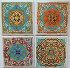 Set of 4 - Handmade Natural Stone Ceramic Tile Drink Coasters - Moroccan 1  - F