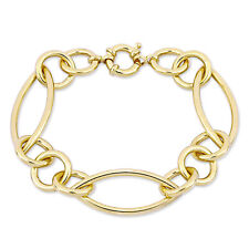 Amour Fancy Link Bracelet Silver Yellow w /Large Spring Ring Clasp