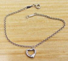 """Tiffany & Co Elsa Peretti sterling 925 Open Heart CHARM BRACELET 7 1/4"""" 11 X 10"""