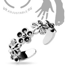 Link Mid-Ring or Toe Ring Adjustable Rhodium Plated Mixed Flowers