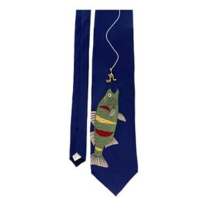 Vicky Davis New York Getting Hooked Black Silk Fish Novelty Tie w/Gold Worm Lure