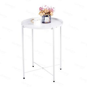 White Side Table Round End Sofa Table Detachable Tray Top Garden Terrace Balcony