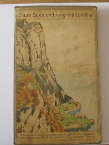 Vintage cloth-backed folding Map 1937 St Gallen North Alps Switzerland Chum Bueb