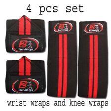 Weight Lifting Elasticated Knee Wraps Wrist Wraps Set Bandage Gym Straps Guard