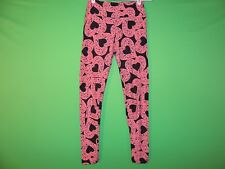 LuLaRoe Womens One Size Black / Pink Heart Geometric Leggings