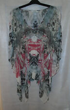 Karen Millen Ladies UK Size 8 White,Grey & Pink Floral Floaty Silk Top
