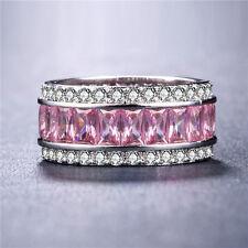 Gorgeous 925 Silver Jewelry Princess Cut Pink Sapphire Women Wedding Ring Size 7