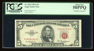 DBR 1953-A $5 Legal Fr. 1533 CA Block PCGS AU-50 PPQ Birthday Serial C06061941A