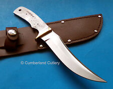 Hunting Knife Making Blade Blank with Brass Finger Guard and Leather Sheath