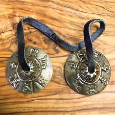 Handmade Tibetan Tingsha Bells Cymbals 4.5cm Om Mane Padme Nepal Bronze Buddhist