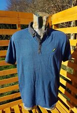 Brookhaven Mens Polo Shirt Top Striped Short Sleeve Blue Summer ^B4^