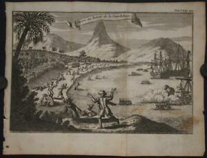 GUADELOUPE WEST INDIES 1720 THOMAS GAGE ANTIQUE ORIGINAL COPPER ENGRAVED VIEW