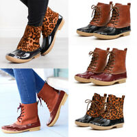Women Lace Up Ankle Strap Snow Boots Duck Waterproof Casual Leopard Rain Boots