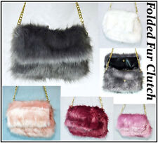 Ladies Designer Fluffy Feather Clutch Faux Fur Bag Purse With Chain Runway Flap