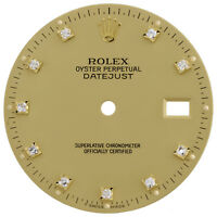 Factory Original Round Diamond Rolex DateJust 36mm Champagne Dial Ref. # 16013