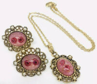 Sweet Sarah Cov Roses Art Glass Necklace and Earrings Demi Vintage Jewelry