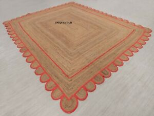 Scallop Rug Natural braided style jute hemp carpet rug rustic look decor rugs