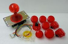 Japan Sanwa Clear Joystick & Buttons & Start & GT-Y Red Set of 9 Arcade Parts