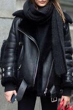 Acne Style Oversized Lamb Shearling Faux Leather Motorcycle Biker Jacket Black S