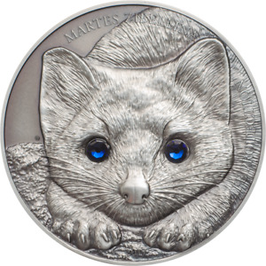 Mongolia 2017 500 Togrog Wildlife Protection - Sable 1 Oz Silver Antique Coin