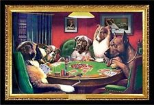 Bold Bluff, Dogs Playing Poker' by C.M. Coolidge Framed Graphic Art