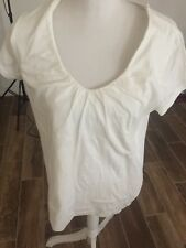 Merona Knit Top White ScoopNeck Cotton Bend Womens Sz XXL Cap Sleeved EUC