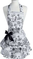 """Jessie Steele """"Cafe Toile� Cotton Linen Ruffle Cooking Apron Chef Cook"""