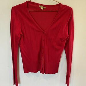 Avocado V Neck Button Up Long Sleeve Red Cardigan - 10-2nd Bottom Button Missing