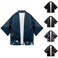 Japanese Kimono Mens Women T-shirt Cotton Crew Neck Short Sleeve Summer Tops