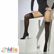 BLACK SHEER VERTICAL STRIPE HOLD UPS STOCKINGS ladies accessory womens hosiery