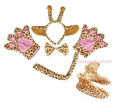 Halloween Giraffe Headband Bow Tail Paw Shoes 5pc Child School Party Kid Costume