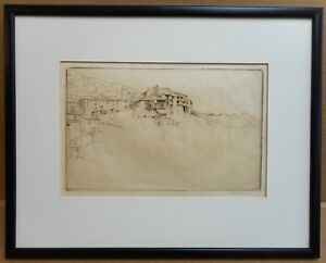 Tuscany Hill Town. Etching by listed artist Charles Frank Trangmar ARCA, c1930