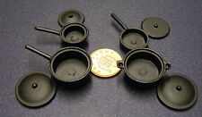 1:12 Scale Set Of 4 Black Saucepans Tumdee Dolls House Miniature Kitchen 216