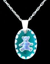 Ice Blue Oval Mini Teddy Bear Crystal Pendant