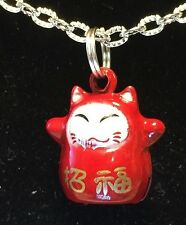 """BIN Asian Maneki Neko Red Lucky Cat Bell Charm Tibetan Silver with 18"""" Necklace"""