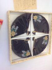 JAPANESE CHINA SERVING PLATES SET OF 5 FAN SHAPED BAMBOO DESIGN  VINTAGE CERAMIC