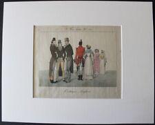 """""""Costumes Anglais"""" Le Bon Genre N°68 1815 Gravure Satirique originale aquarellée"""
