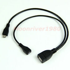 USB 2.0 A Female to Micro USB B Male + Micro 5 Pin Female Cable Host OTG Adapte