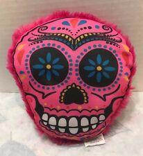 "Nanco Sugar Skull Plush 8"" Stuffed Colorful Face Pink"